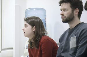 Couple waiting in hospital