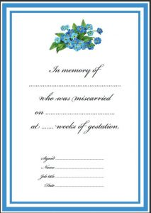 Pregnancy loss certificate