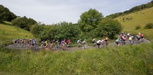 People taking part in a cycling event.