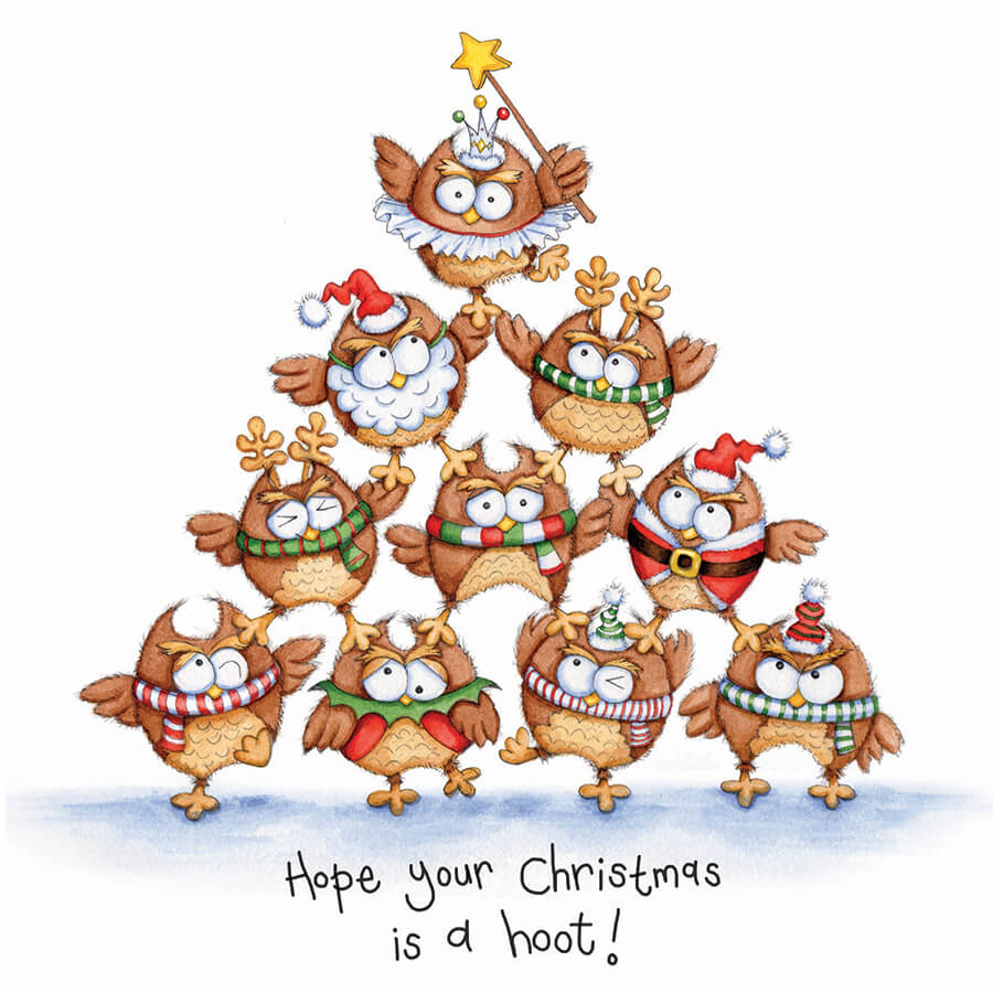 christmas cards christmas hoot pack of 10 - Christmas Images For Cards
