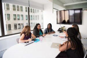 Women in an office meeting